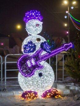 """Новогодний декор и аксессуары - Световая фигура """"Снеговик с гитарой и микрофоном"""", 0"""