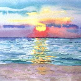"""Картины, постеры, гобелены, панно - Картина """"Солнечный закат"""", 0"""