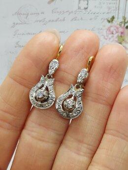 Серьги - Золотые серьги с бриллиантами 0,47 ct, СССР, 0