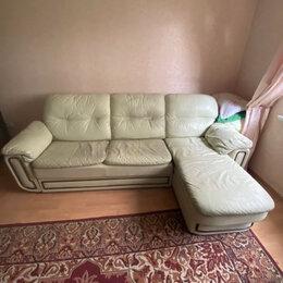 Диваны и кушетки - Диван-кровать угловой кожаный фисташковый, 0
