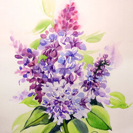 Картины, постеры, гобелены, панно - Сирень. Акварель, букет,весна,цветы,картина, 0