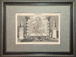 Гравюры, литографии, карты - Старинная гравированная карта 1854 года. Европа…, 0