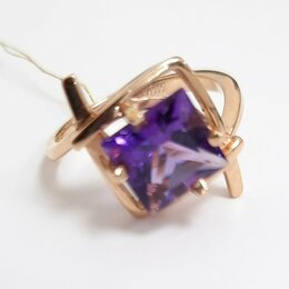 Кольца и перстни - Золотое кольцо с аметистом,17, 0