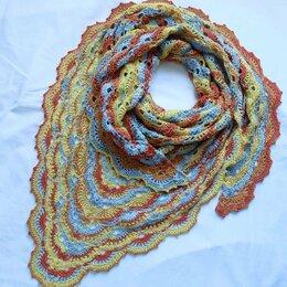 Шарфы и платки - Вязаная шаль в рыжих оттенках, 0