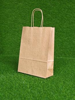 Пакеты - Крафт пакет с кручеными ручками, 280х240х140 мм…, 0