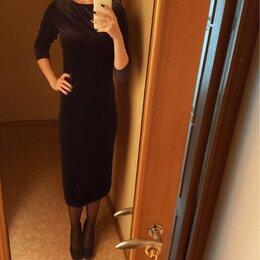 Платья - Платье бархатное с поясом 44-46 (М) размер, 0