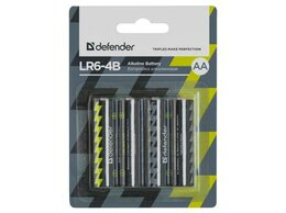 Батарейки - Батарейка алкалиновая Defender LR6-4B AA в блистер, 0