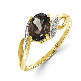 Кольца и перстни - Кольцо с раух топазом и 6 фианитами из жёлтого золота, 0