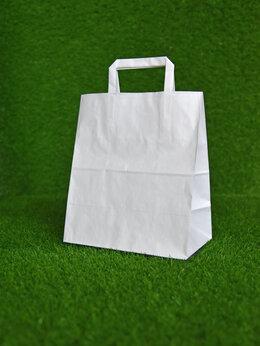 Пакеты - Крафт пакет с плоскими ручками 280х240х140 мм…, 0