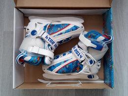 Коньки - Детские раздвижные коньки, разм. 29-33, бело-синие, 0