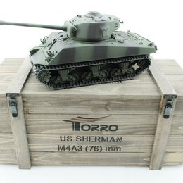 Радиоуправляемые игрушки - Р/У танк Torro Sherman M4A3 76mm, 1/16 2.4G, ИК-пушка, деревянная коробка, 0