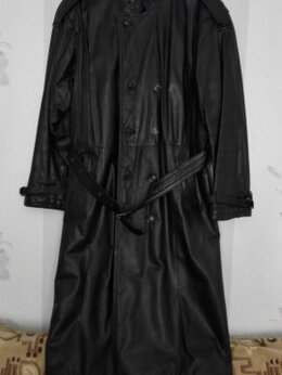 Пальто - Мужское пальто кожаное, 0