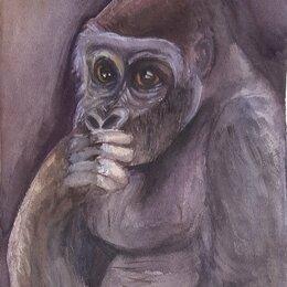 Картины, постеры, гобелены, панно - Картина обезьяна - акварель , 0