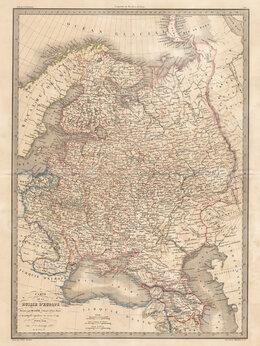 Гравюры, литографии, карты - 1842 год. Большого размера карта европейской…, 0