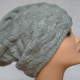 Головные уборы - Вязаная женская шапка косами серая Vizio Италия 5918 CL, 0