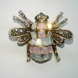 Броши - Брошь мотылек, бабочка со стразами, дл. 2,5 см, 0