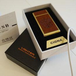 Пепельницы и зажигалки - Зажигалка USB Герб России с кожей, 0