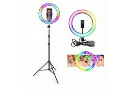 Наушники и Bluetooth-гарнитуры - Кольцевая лампа со штативом Ring Lamp RGB, d 26 см, 0