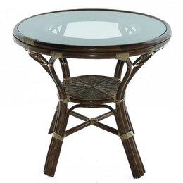 Плетеная мебель - Стол из ротанга со стеклянной столешницей , 0