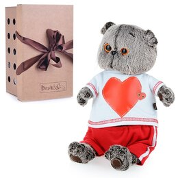 Мягкие игрушки - Мягкая игрушка «Басик в футболке с сердцем», 30 см, 0