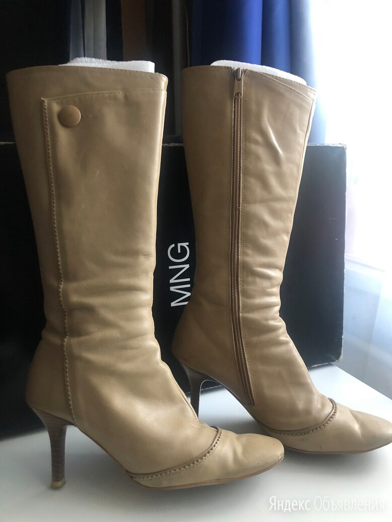 Кожаные сапоги Mango, демисезон, Испания по цене 830₽ - Одежда и обувь, фото 0