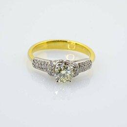 Кольца и перстни - Золотое кольцо с крупным бриллиантом, 0