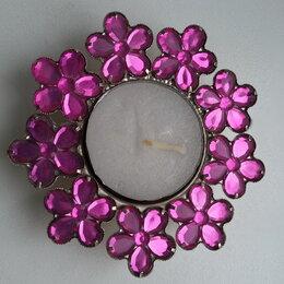Подсвечники - подсвечник  с розовыми камешками .Новый, 0