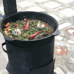 Казаны, тажины - Узбекский Чугунный казан и печь с дымоходом 10 л, 0
