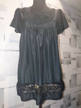 Блузки и кофточки - Шёлковая туника с кружевом, 0