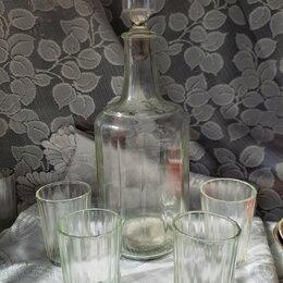 Посуда - Набор граненый графин и 4 стакана.СССР, 0