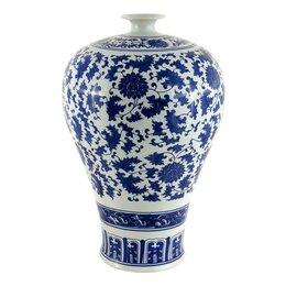 Вазы - Ваза керамическая бело-голубая с крышкой 40 см…, 0