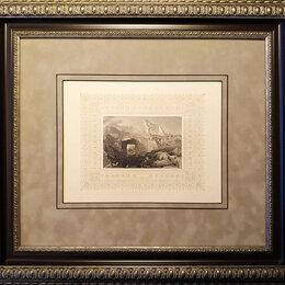 Гравюры, литографии, карты - 1850-е гг. Древний город Ассос в Турции, старинная гравюра R1040, 0