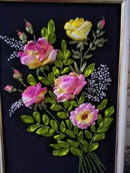"""Картины, постеры, гобелены, панно - Картина вышитая лентами -""""Розовый букет"""", 0"""