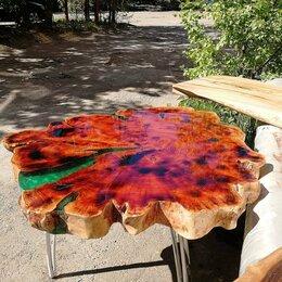 Столы и столики - Журнальный стол из спила с эпоксидной смолой, 0