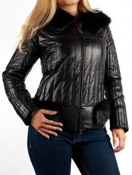 Куртки - Новая кожаная куртка с енотом на синтепоне, 0