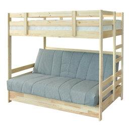 Кровати - Двухъярусная кровать массив с диван-кроватью, 0