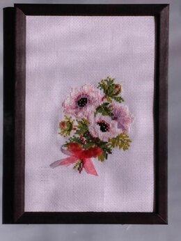 """Рукоделие, поделки и товары для них - Картина в раме """"Анемоны"""" (вышивка handmade), 0"""
