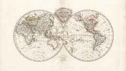 Гравюры, литографии, карты - Старинная карта 1812 года. Карта полушарий с…, 0