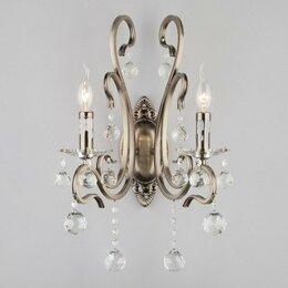 Бра и настенные светильники - Бра с хрусталем 12505/2 античная бронза ernin , 0