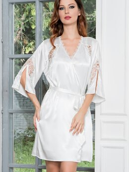 Домашняя одежда - Классический  халат с кружевными вставками, 0