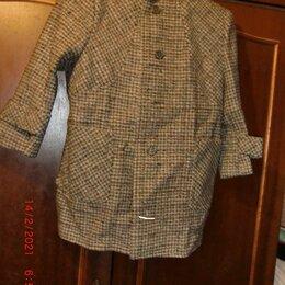 Пальто и плащи - Новое пальто модное в клетку рост 116 с капюшоном , 0