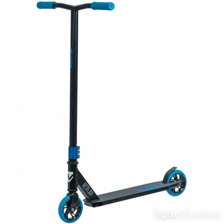 Самокат трюковый NOVATRACK REPLAY BL черный/синий (колеса 120*120 мм) по цене 6630₽ - Велосипеды, фото 0
