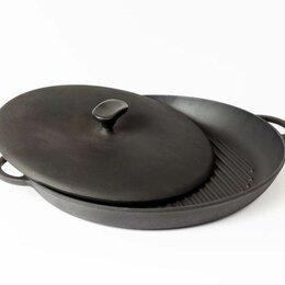 Сковороды и сотейники - Сковорода гриль чугунная круглая Ситон  с прессом 26 и 34 см, 0