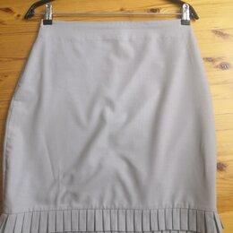 Юбки - Юбка летняя,элегантная, светло серая, х/б, ткань плотная, с изюминкой 46-48р., 0