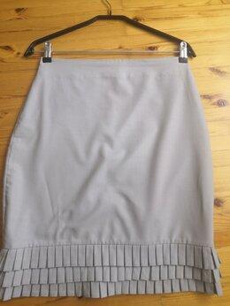 Юбки - Юбка летняя,элегантная, светло серая, х/б, ткань…, 0