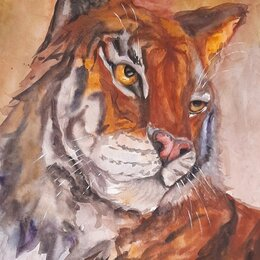Картины, постеры, гобелены, панно - Картина Тигр акварель, 0