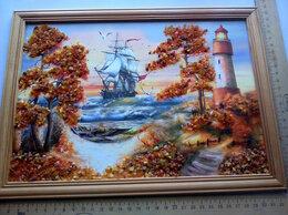 Картины, постеры, гобелены, панно - Картина ,панно с янтарём .Маяк .Латвия .1995 ., 0