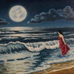 """Картины, постеры, гобелены, панно - """"Лунное притяжение"""", картина маслом в багете, 0"""