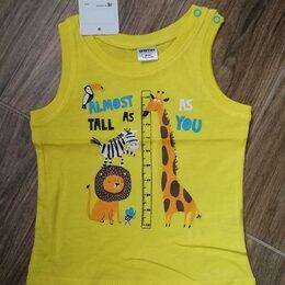 Футболки и майки - Майка новая с животными - жираф, лев, зебра и тукан р.80, 0