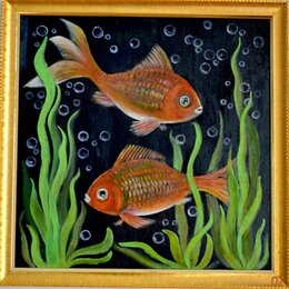 """Картины, постеры, гобелены, панно - Картина двухсторонняя """"Две рыбки""""/ """"Космос"""", 0"""